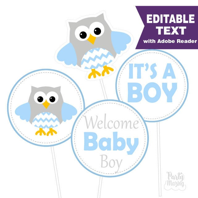 Editable Owl Centerpiece | Boy Blue Baby shower | Printable Party Circles | DIY Centerpiece | E054