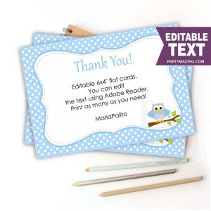 Editable Owl Thank You Card | Cards | Baby Blue and Grey Owl Baby shower Cards  E175