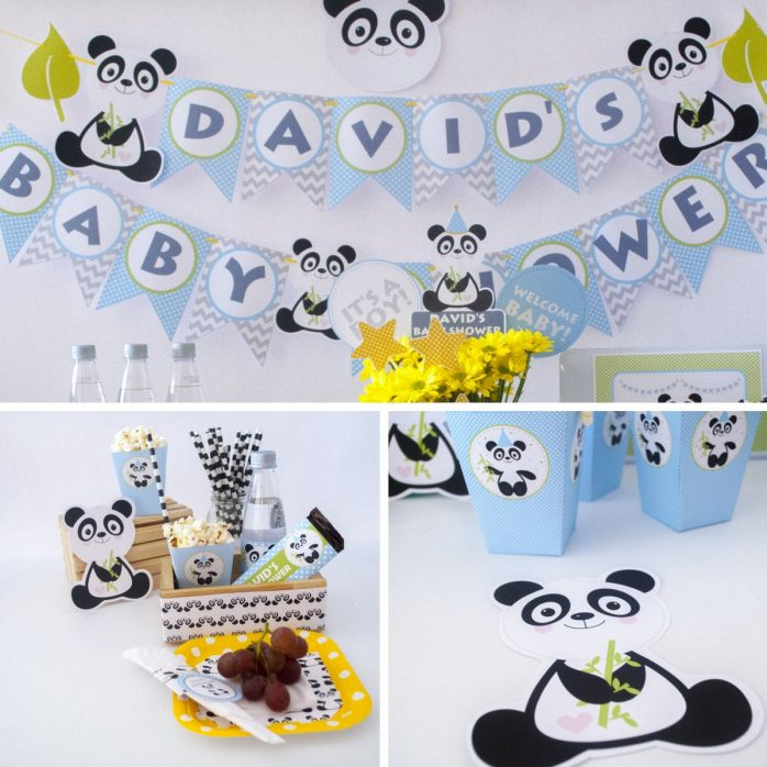 Editable Panda Party Full Package Set for Baby Shower or Birthday Party | PAND1 | E004