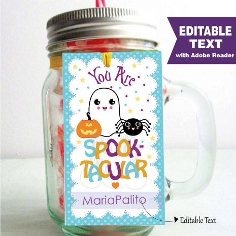 Editable Pastel Happy Halloween Favor Tag for Kids with a cute Ghost, a spider and a Pumpkin   Editable Rectangle Tag   E204