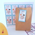Editable Pastel Happy Halloween Favor Tag for Kids with a cute Ghost, a spider and a Pumpkin | Editable Rectangle Tag | E204