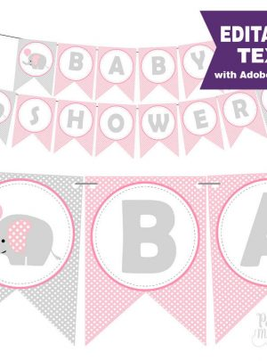 Editable Pink Elephant Baby Shower Banner for your Girl Baby Welcome or Shower Party | E159