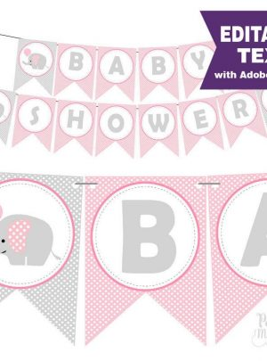 Pink Elephant Printable Baby Shower Banner | E159