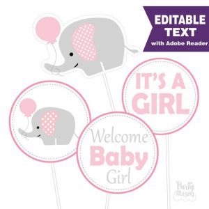 Editable Pink Elephant Baby shower Centerpiece | E171