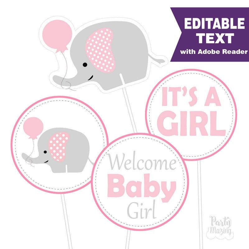 Editable Pink Elephant Baby Shower Centerpiece E171 Partymazing