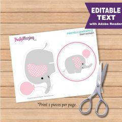 Editable Pink Elephant Baby shower Centerpiece | E171