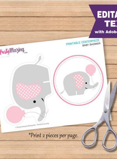 Pink Elephant Baby shower Printable Centerpiece E171