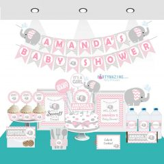 Editable Pink Elephant Baby Shower Full Package Set for a Girl Baby Party | E006