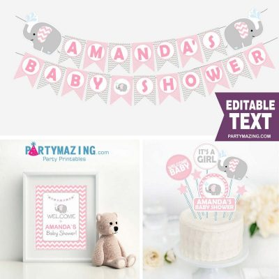 Editable Pink Elephant Baby Shower Full Package Set  PK03  E006