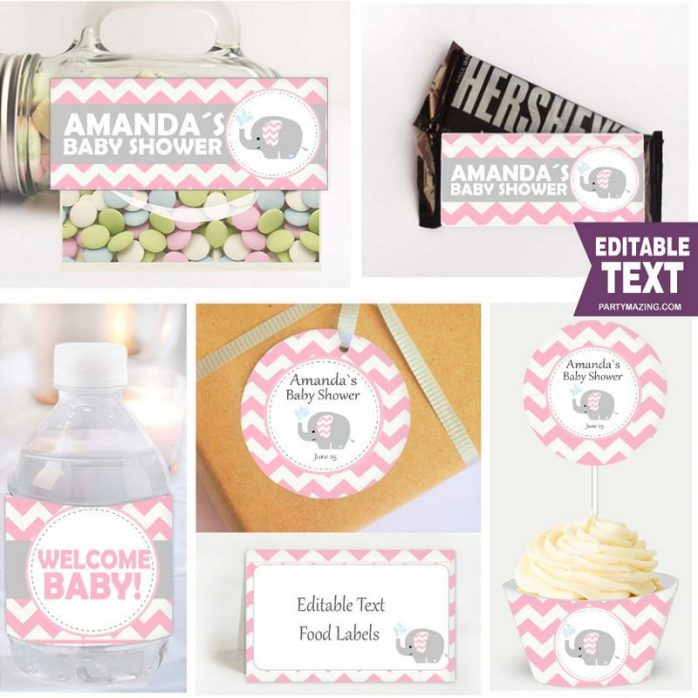 Editable Pink Elephant Baby Shower Full Package Set for a Girl Baby Party   E006