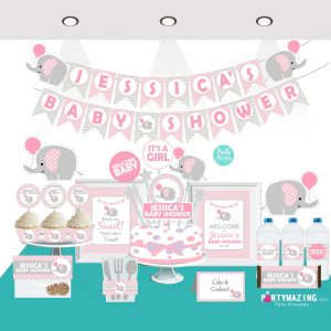 Editable Pink Elephant Baby Shower Full Party Package Set | BBEP1| E009