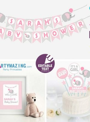 Pink Elephant Printable Baby Shower Full Party Set E009