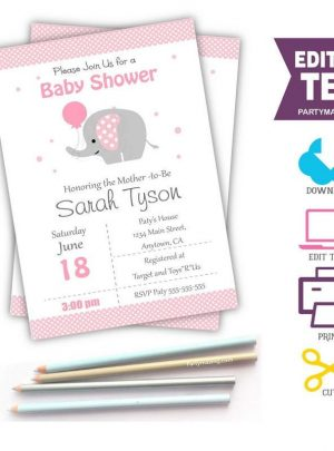 Pink Elephant Printable Baby Shower Invitation | Editable E057