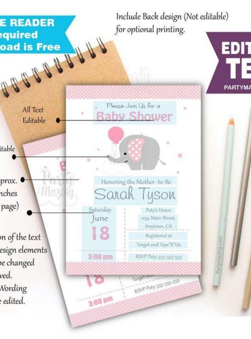 Editable Pink Elephant Baby Shower Invitation   Printable Girl Elephant Invitation   Baby Elephant Girl Baby Shower Invite BBEP1   E057