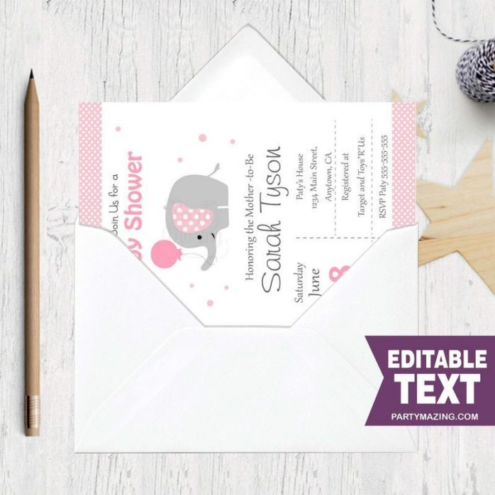 Editable Pink Elephant Baby Shower Invitation | Printable Girl Elephant Invitation | Baby Elephant Girl Baby Shower Invite BBEP1 | E057