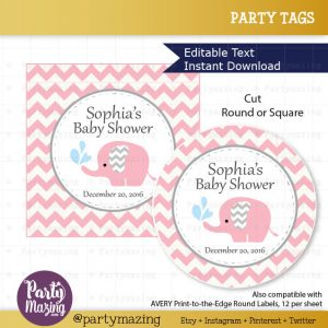 Editable Pink Elephant Baby Shower Tags | E334