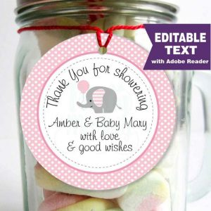 Editable Pink Elephant Gift Tag | Girl Baby Shower Stickers | Thank You Labels | Favor Bag Tags |Stricker Imprimible |  | E103