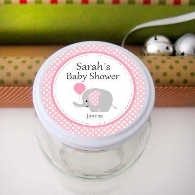 Pink Elephant Baby Shower Printable Stickers |PK03| E163