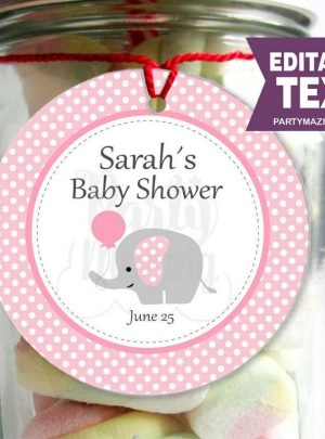 Pink Elephant Baby Shower Printable Stickers E163