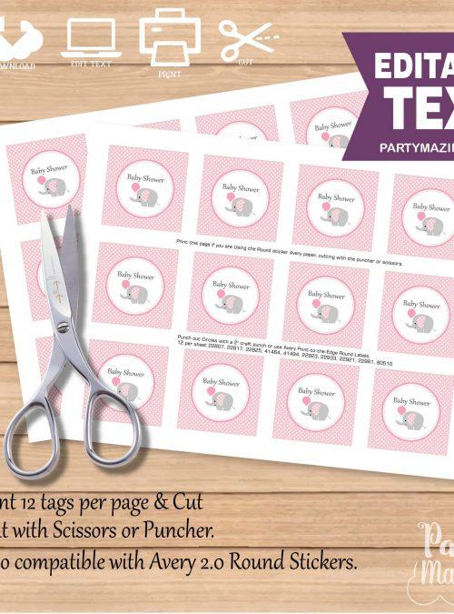 Editable Pink Elephant Tags | Baby Shower Tags | Editable Gift Tag| Custom Favor Tags | Favor Bag Tags |  | E163