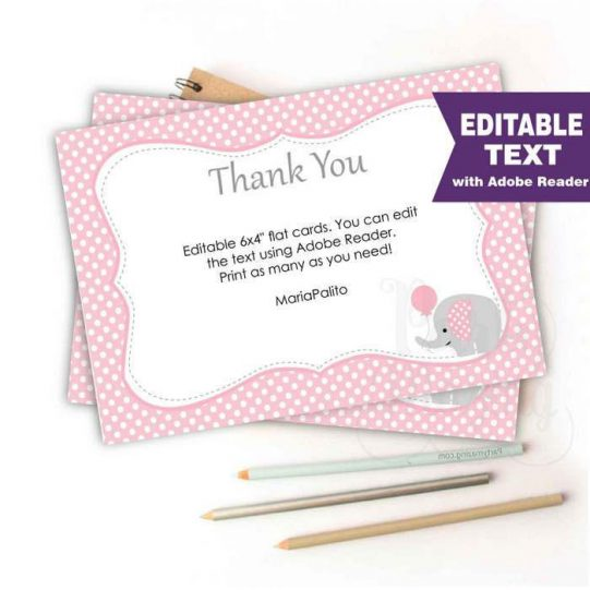 Editable Pink Elephant Thank You Note Cards for Baby shower Thank you Notes | E174