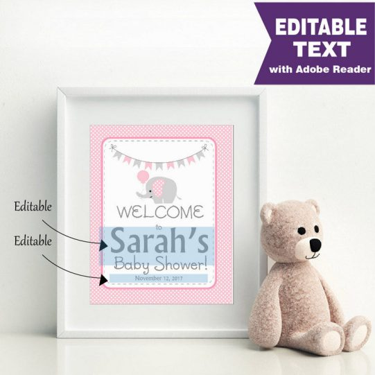 Editable Pink Elephant Welcome Party sign | E300