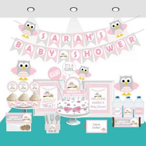 Editable Pink Owl Baby Shower Full Party Set for a Baby Girl Party | E008