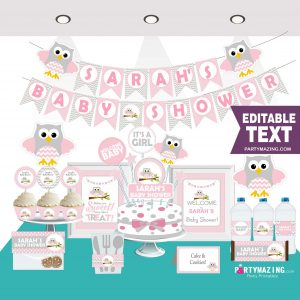 Editable Pink Owl Baby Shower Full Party Set for a Baby Girl Party | PK01 | E008