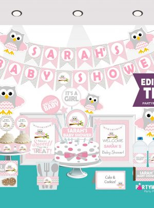 Pink Owl Baby Shower Printable Full Party Set | E008