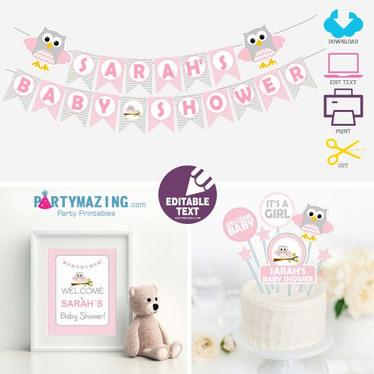 Editable Pink Owl Baby Shower Full Party Set for a Baby Girl Party   E008