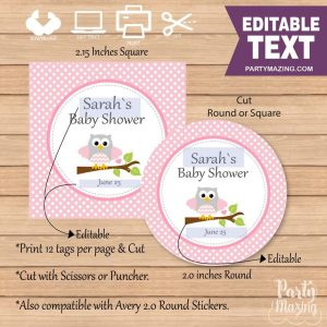 Editable Pink Owl Baby Shower Tag | E299