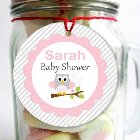 Editable Pink Owl Baby Shower Tags | Owl Tags | Baby Shower Stickers | Editable Tag | E085