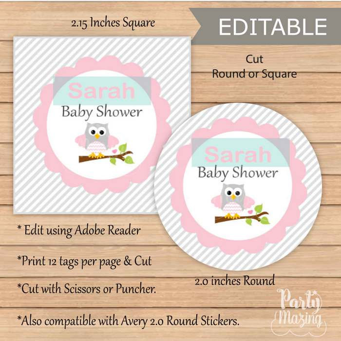 Editable Pink Owl Baby Shower Tags   Owl Tags   Baby Shower Stickers   Editable Tag   E085