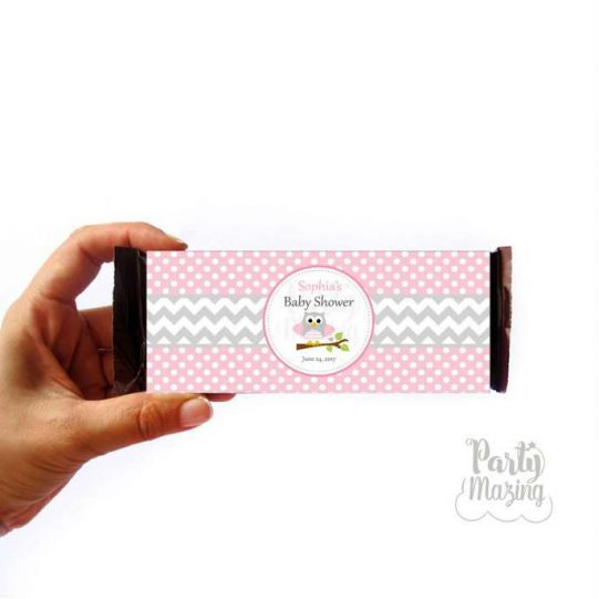 Editable Pink Owl Chocolate Bar Labels for Baby Shower Party  E315