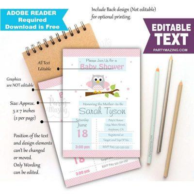 Editable Pink Owl Invitation | Girl Baby Shower or Birthday Invite | Grey Chevron | All Text BBOP1| E060
