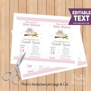 Editable Pink Owl Invitation | Printable Baby or Birthday Invite | PK01 | E060