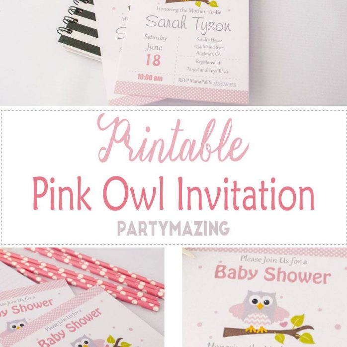 Editable Pink Owl Invitation | Girl Baby Shower or Birthday Invite | Grey Chevron | All Text BBOP1| E060