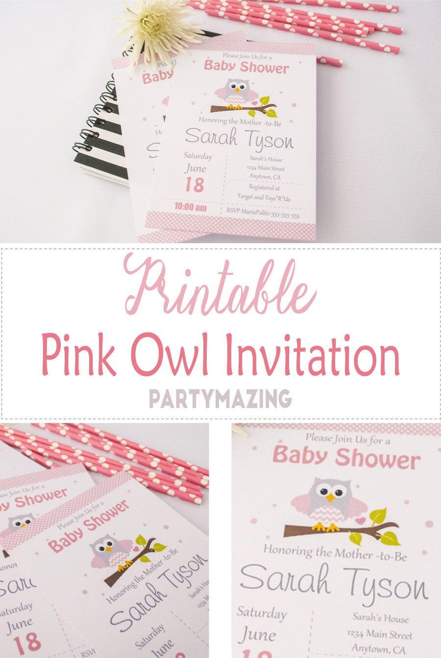 Girl Owl Blossom Printable Birthday Invitation Editable PDF