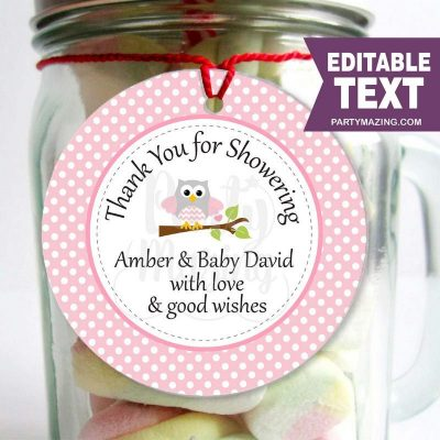 Editable Pink Owl Tags | Girl Baby Shower Stickers | Thank You Party Favor Tag | Toppers | Instant Download|| E029