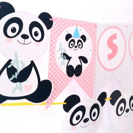 Editable  Pink Panda Birthday or Baby Shower Party Full Package Set Including Svg Cut files | E179