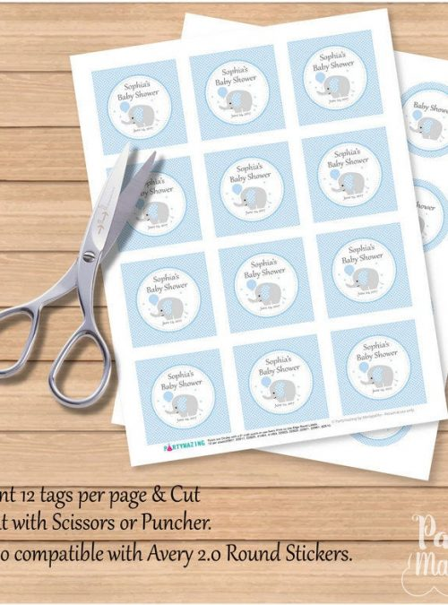 Editable Printable Baby Blue Elephant Tags for Baby Shower Party Favor Tag | E138