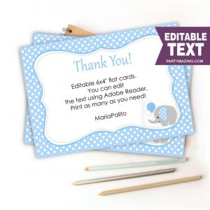 Editable Printable Blue Elephant Thank You Cards| Text| Baby shower Note Cards| Baby Boy Elephant Baby Shower | E245