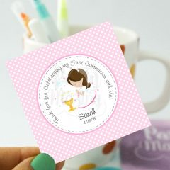 Editable Printable Girl First Communion Tags| English Version | Thank You Stickers Labels| Party Favor Tag| stickers COM1 | E125