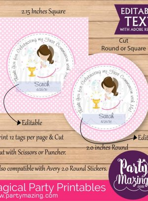 Girly First Communion Printable Tag E125