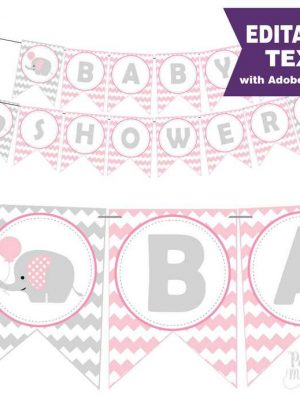 Pink Elephant Baby Shower Printable Banner E264