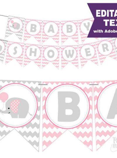 Pink Elephant Baby Shower Printable Banner E264