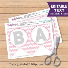 Editable Printable Pink Elephant Baby Shower Banner – Text Banner – Chevron Pink and Gray Baby Shower Banner| Garland | E264