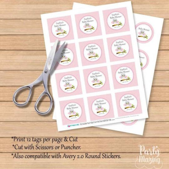 Editable Printable Pink Owl Tags| Girl Baby Shower Stickers| Thank You Party Favor Tag| Toppers| Instant Download | E082