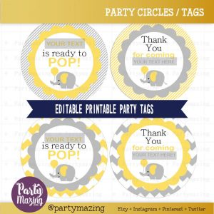 Editable Printable She is ready to pop Tag| Yellow Elephant Elephant Tags| Baby Shower Stricker Imprimible | | | E122