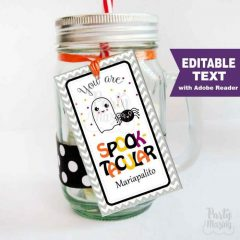 Editable Printable Spooktacular Ghost and Spider Halloween Tag | Editable Rectangle Tag | E203